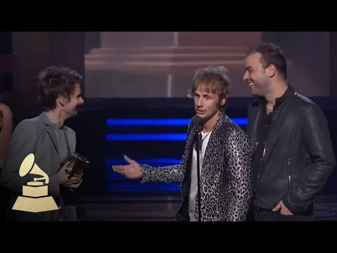 Muse accepting the GRAMMY for Best Rock Album at the 53rd GRAMMY Awards