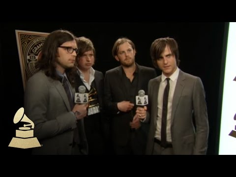 Kings of Leon backstage at the 52nd GRAMMYs