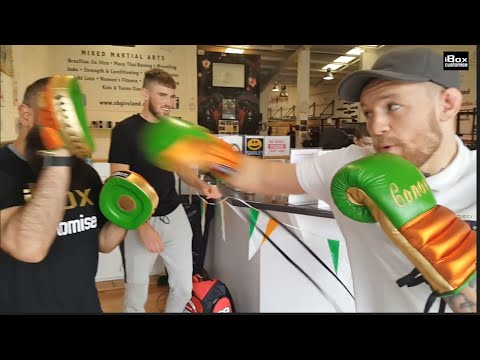 'THE NOTORIOUS MMA' CONOR McGREGOR TRIES OUT HIS LATEST PAIR OF {BOXING} GLOVES FROM iBOX CUSTOMISE