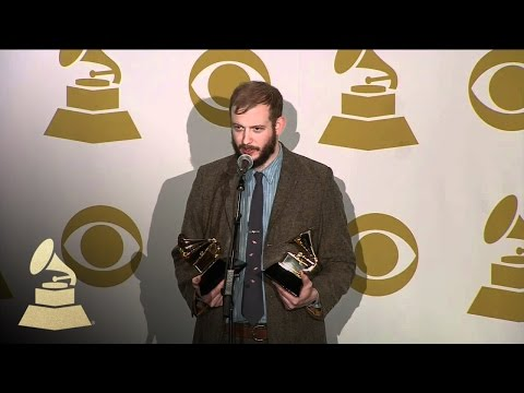 Bon Iver backstage at 54th GRAMMY Awards