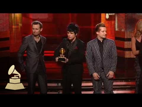 Green Day accepting the GRAMMY for Best Rock Album at the 52nd GRAMMY Awards