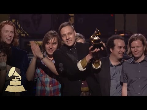 Arcade Fire accepting the GRAMMY for Album of the Year at the 53rd GRAMMY Awards
