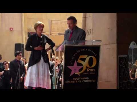 Hugh Laurie congratulates Emma Thompson on Walk of Fame star