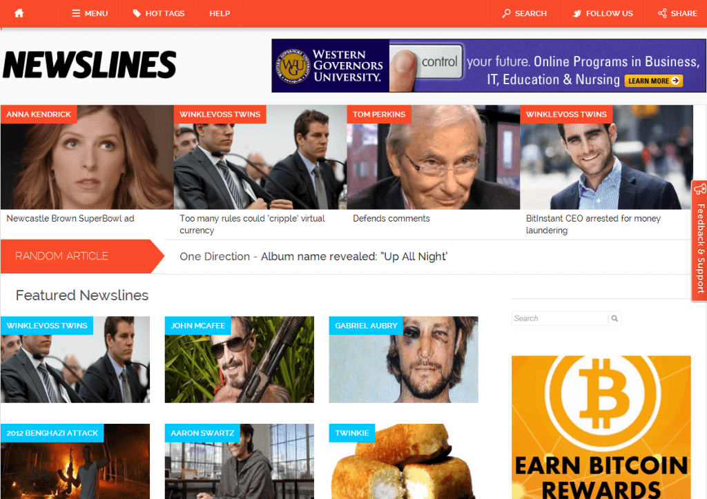 Newsllines Front Page