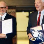 John P. Holdren and Joseph Rotblat with their Peace Prize Medals