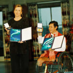 ICBL Ambassadors Jody Williams and Tun Channereth with their Peace Prize Medals