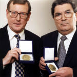 John Humbe and David Trimble with their Peace Prize Medals