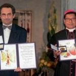 José Ramos-Horta and Carlos Filipe Ximenes Belo with their Peace Prizes