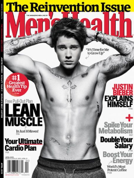 40ba7eda9da16 Bieber appears on the cover of April 2015 issue of Men's Health. He talks  about his man crush on Ben Affleck and getting more tattoos.