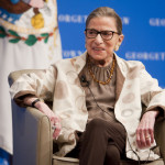 Supreme Court justice Ruth Bader Ginsburg on stage during a talk with Law Dean William Treanor for the Annual Dean's Lecture at Georgetown University Law Center.  February 4, 2015.  Photo by Diego M. Radzinschi/THE NATIONAL LAW JOURNAL.