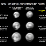 Features on the Close Approach Hemisphere: These images, taken by New Horizons' Long Range Reconnaissance Imager (LORRI), show numerous large-scale features on Pluto's surface. The distance to Pluto ranges from 47 million kilometers (about 29 million miles) on June 5 to 31 million kilometers (19 million miles) on June 18. When various large, dark and bright regions appear near limbs, they give Pluto a distinct, but false, non-spherical appearance. Pluto is known to be almost perfectly spherical from previous data. These images are displayed at four times the native LORRI image size, and have been processed using a method called deconvolution, which sharpens the original images to enhance features on Pluto.