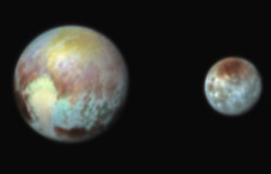 Color image of Pluto and Charon