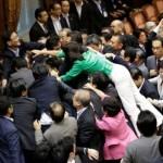 Japan parliament scuffles image