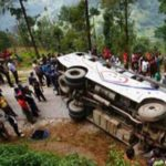 mountainous site of a bus crash in Nepal