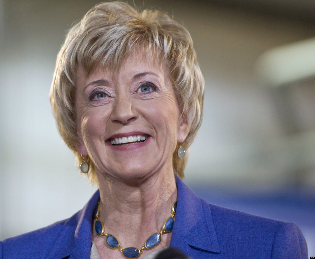 FILE - In this March 14, 2012 file photo, Republican Senate hopeful Linda McMahon smiles during her first news conference Newington, Conn., since announcing her second bid for U.S. Senate. McMahon's campaign has intensified its focus on building a more robust grassroots network – a difference from her failed 2010 race, when she lost to former Democratic Attorney General Richard Blumenthal. (AP Photo/Jessica Hill, File)